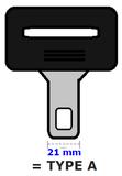 Gordel verlenger, staand, type:A (21mm)