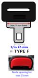 Auto gordel verlenger, E4 onderdelen, Staand type F (25/26 mm)_