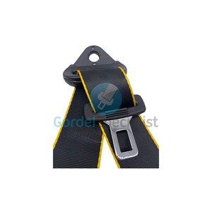Autogordel Zwart met gele rand / Veiligheidsgordel 3 puntsgordel, 1 dag levertijd, Type A