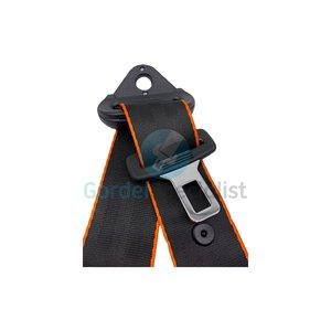 Autogordel Zwart met oranje rand / Veiligheidsgordel 3 puntsgordel, 1 dag levertijd, Type A